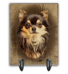 Long Haired Tri-Color Chihuahua Leash Holder
