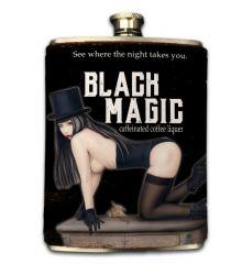 Black Magic 8oz Faux-Leather Wrapped Flask