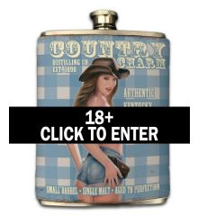 Country Charm 8oz Faux-Leather Wrapped Flask