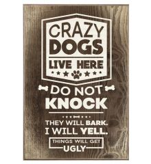 Crazy Dogs- Things Will Get Ugly- Multiple Dogs 12x18 Birch Wood Print
