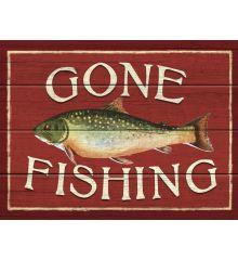 Gone Fishing 9x12 Birch Wood Print