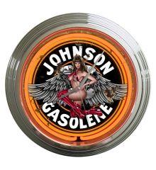 Johnson Gas Vintage Neon Clock (Orange)