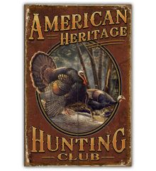 American Heritage Hunting Club 12x18 Planked Wood Sign