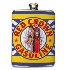 Red Crown Gas 8oz Faux-Leather Wrapped Flask
