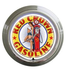 Red Crown Gas Neon Clock (White)