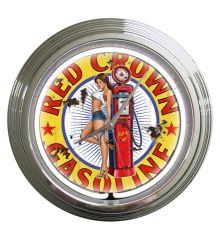 Red Crown Gas Vintage Neon Clock (White)