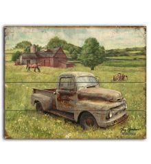 Rusty's Barn and Tractor 12x15 Planked Wood Signs