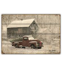 Snow Truck and Barn 12x18 Planked Wood Signs