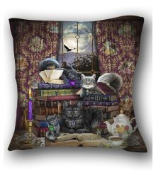 Storytime Cats and Books Pillow