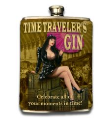 Time Traveler 8oz Faux-Leather Wrapped Flask