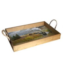 Autumn Steam in the Rockies 12X18 Wood Serving Tray