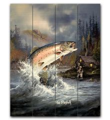 Trout 12x15 Planked Wood Sign