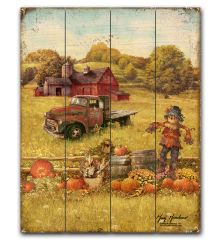 Fall Barns and Truck 12x15 Planked Wood Sign