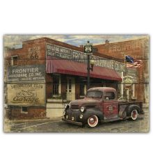 Hardware Store & Truck Distressed 12x18 Planked Wood Sign