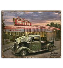 Green Truck Drive In 12x15 Planked Wood Signs