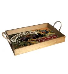 Imperial Plums 12X18 Wood Serving Tray