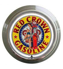 Red Crown Gasoline 2  Neon Clock