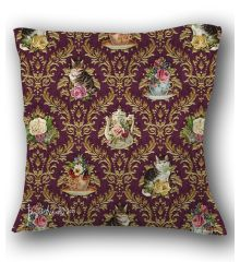 Teatime Cats Damask Pillow