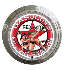 Texaco Gas Vintage Neon Clock (White)